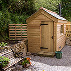 Garden shed with slate roof
