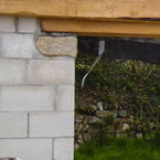 Oak beam lintel and joist