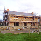 Cornish Cottage with scaffolding