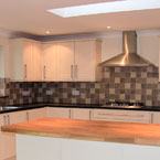 Kitchen, travertine, oak kitchen island